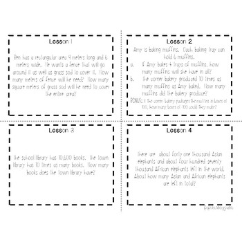 4th Grade Engage NY Module 1 Application Problem Task Cards