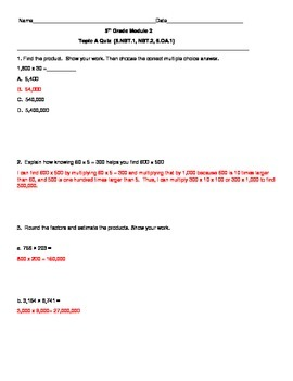 5th Grade EngageNY/Eureka Math Module 2 All Topics-Quizzes/Review