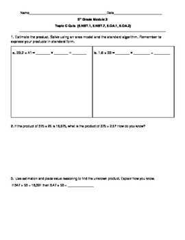 5th Grade EngageNY/Eureka Math Module 2 Topic C Quiz/Review