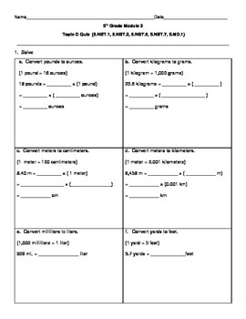 5th Grade EngageNY/Eureka Math Module 2 Topic D Quiz/Review
