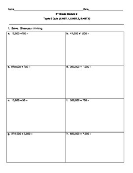 5th Grade EngageNY/Eureka Math Module 2 Topic E Quiz/Review