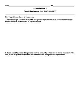 5th Grade EngageNY/Eureka Math Module 2 Topic H Quiz/Review