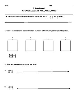 5th Grade EngageNY/Eureka Math Module 3 Topic A Quiz/Review
