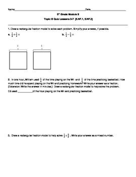 5th Grade EngageNY/Eureka Math Module 3 Topic B Quiz/Review