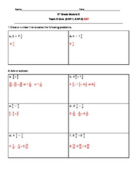 5th Grade EngageNY/Eureka Math Module 3 Topic C Quiz/Review