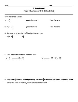 5th Grade EngageNY/Eureka Math Module 3 Topic D Quiz/Review
