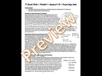 5th Grade EngageNY/Eureka Math - Module 4 - Lessons 17-20 Parent Info Sheet