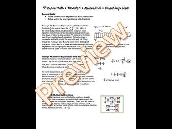 5th Grade EngageNY/Eureka Math - Module 4 - Lessons 10-12 Parent Info Sheet
