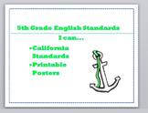 "5th Grade English ""I can Statements"" California Standards {Editable}"