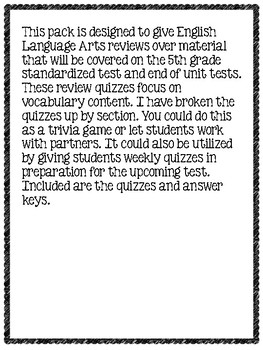 5th Grade English Language Arts Review Questions Test Prep