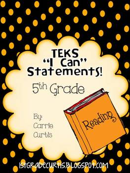 "5th Grade  TEKS ""I Can"" Statements: English Language Arts Edition"