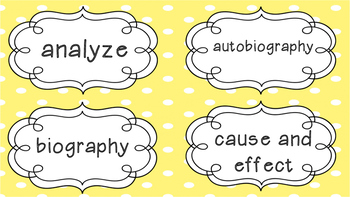 5th Grade English Language Arts Word Wall Cards for Academic Vocabulary