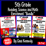 5th Grade Enrichment Project Bundle! Reading, Science, Math Projects All Year!