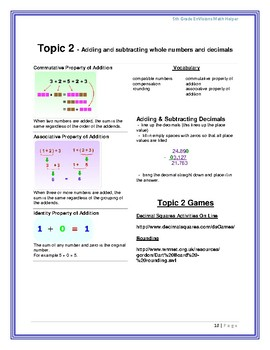 Envision Math Helpers (5th Grade)