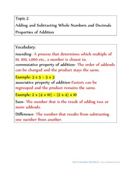 Envisions Math Topic 2 (5th Grade)