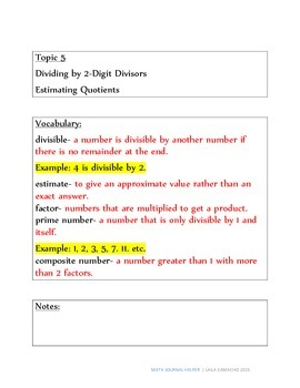 Envisions Math Topic 5 (5th Grade)