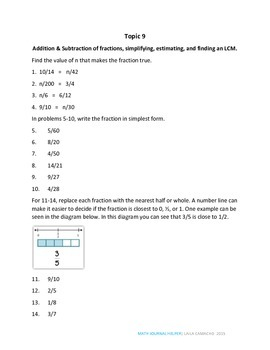 Envisions Math Topic 9 (5th Grade)
