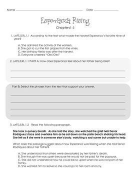 5th Grade Esperanza Rising Florida Standards Novel Study Sample {Ch. 1-5}
