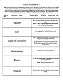 Essential Standards Science Vocabulary Cards Sets (Grades