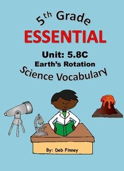 5th Grade Essential Vocabulary 5.8C Earth Rotation