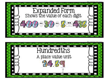 5th Grade Eureka Math EngageNY Word Wall: Module 1