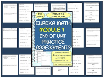5th Grade Eureka Math Module 1 Practice Assessments / 3 Tests with Answer Keys