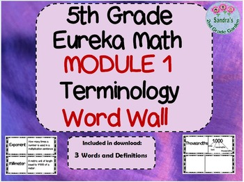 5th Grade Eureka Math Module 1 Word Wall With Definitions