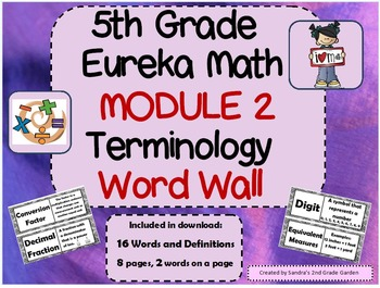 5th Grade Eureka Math Module 2 terminology Word Wall With