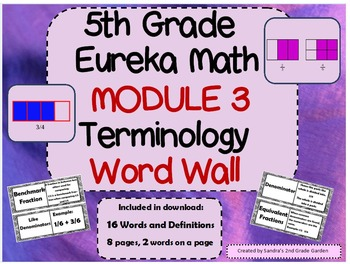 5th Grade Eureka Math Terminology Word Wall with Definitions 16 Terms
