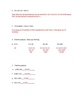 5th Grade Eureka Module 2 Lesson 1 Quiz (with Answer Key)