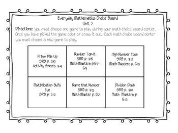 5th Grade Everyday Math Choice Board