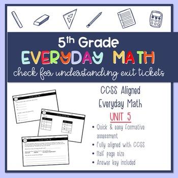 5th Grade Everyday Math Exit Slips - Unit 5