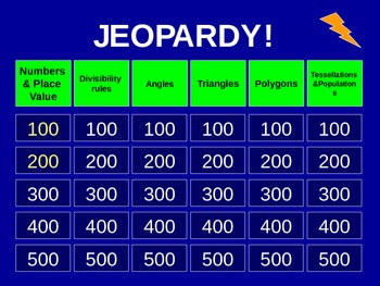 5th Grade Everyday Math Jeopardy - Unit 3