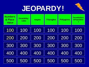 5th Grade Everyday Math Jeopardy - Unit 3