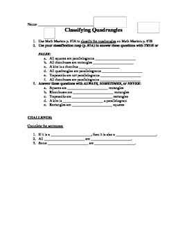 5th Grade Everyday Math Lesson 3.8 - Classifying Quadrangles