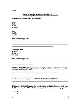 5th Grade Everyday Math - Math Message Warm-Up Packet (2.1-2.5)