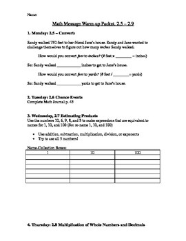 5th Grade Everyday Math - Math Message Warm-Up Packet (2.5-2.9)