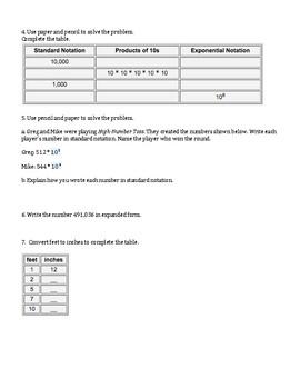 5th Grade Everyday Mathematics / EDM (4) / Math Unit 2 Test Review and Key
