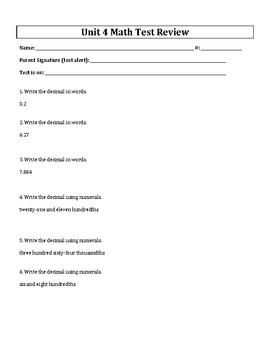 5th Grade Everyday Mathematics / EDM (4) / Math Unit 4 Test Review and Key