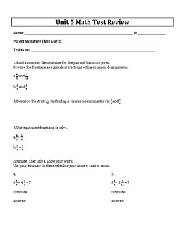 5th Grade Everyday Mathematics / EDM (4) / Math Unit 5 Test Review and Key