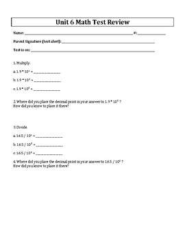 5th Grade Everyday Mathematics / EDM (4) / Math Unit 6 Test Review and Key