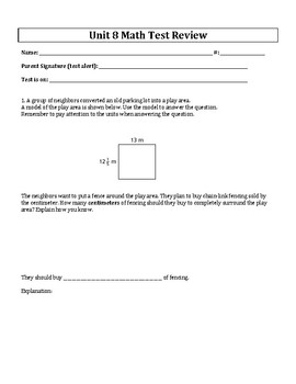 5th Grade Everyday Mathematics / EDM (4) / Math Unit 8 Test Review and Key