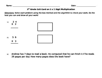 Exit Card on 2 x 1 Digit Multiplication