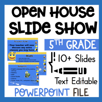 5th Grade Welcome Back to School Open House Editable Power Point *common core*