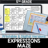 5th Grade Expressions Digital & Printable Maze Activity