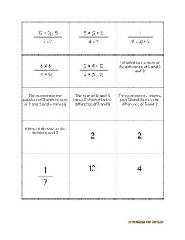 """5th Grade Expressions """"Expressions Matching Activity"""""""