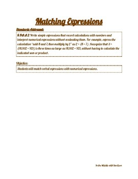"5th Grade Expressions ""Expressions Matching"" Worksheet"