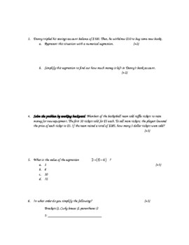 5th Grade Expressions Test/ Order of Operations