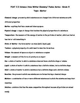 5th Grade FCAT Science Vocabulary & Quiz-Matter