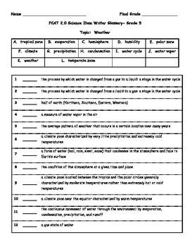 5th Grade FCAT Science Vocabulary & Quiz-Weather